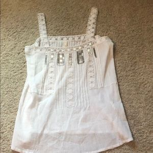 White,textured,jewels tank top